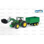 Tractor 1/16 Scale Bruder John Deere Tractor & Trailer