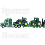 Tractor 1/87 Scale SIKU John Deere Tractor with Low Loader trailer and tractors