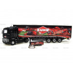 Tractor 1/50 Scale UNIVERSAL HOBBIES Renault Truck with Kuhn Trailer and Key Rin