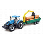 Tractor 10cm Scale Sparex New Holland T7-315 Tractor with Logging Trailer
