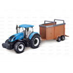 Tractor 10cm Scale  New Holland T7-315 Tractor with Livestock Trailer