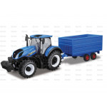 Tractor 1/32 Scale New Holland T7-315 Tractor with Hay Trailer